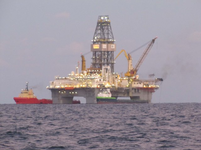 A drilling rig in the Gulf of Mexico