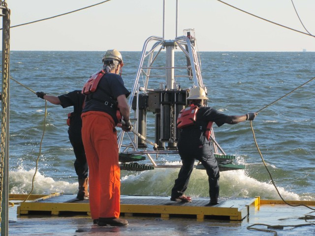 Bringing in the multi-corer and a full carousel of sediment samples