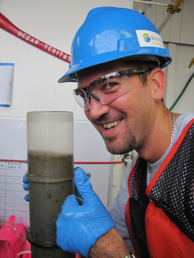 Michael Jessich of Entrex and a freshly cored sediment sample